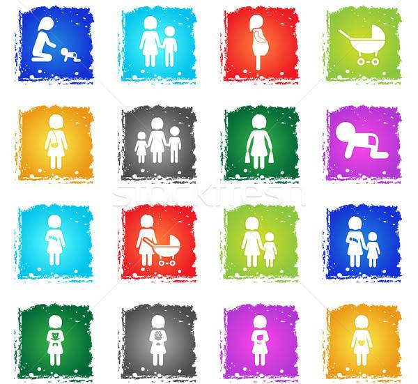 Menschen Familie einfach Symbole Grunge Stil Stock foto © ayaxmr