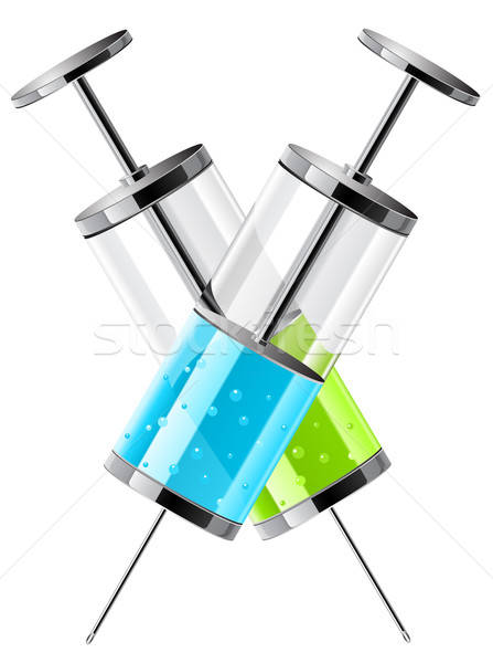 vector illustration of glass medical syringes Stock photo © ayaxmr