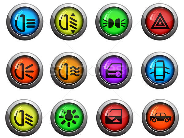Car interface icons set Stock photo © ayaxmr