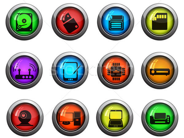 Computer equipment icons set Stock photo © ayaxmr