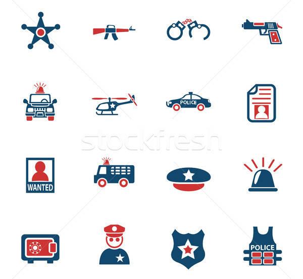 Rendőrség ikon gyűjtemény webes ikonok felhasználó interfész terv Stock fotó © ayaxmr