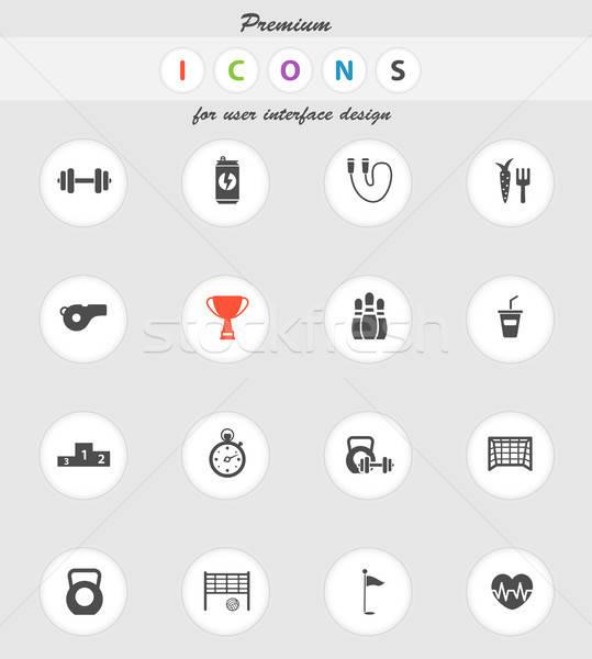 Sport eenvoudig iconen vector web gebruiker Stockfoto © ayaxmr