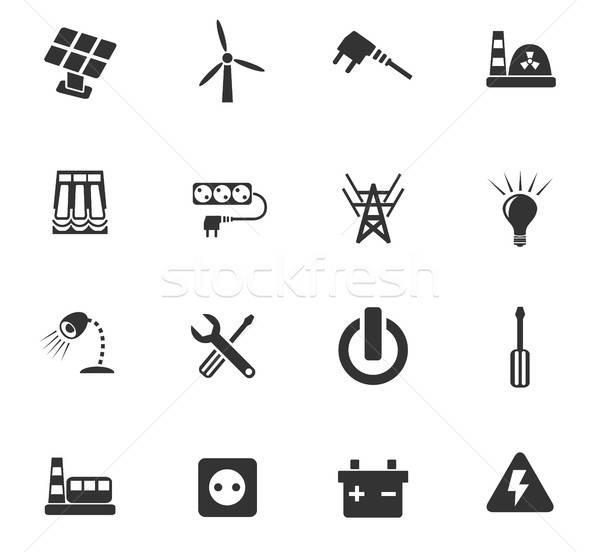 electricity icon set Stock photo © ayaxmr