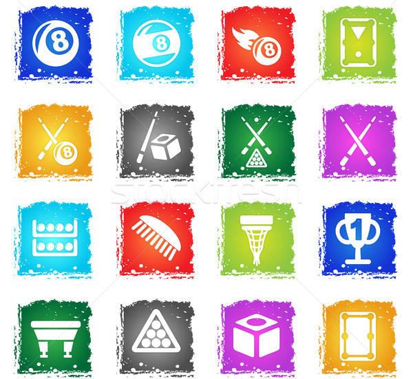 Biliárd ikon gyűjtemény webes ikonok grunge stílus felhasználó Stock fotó © ayaxmr