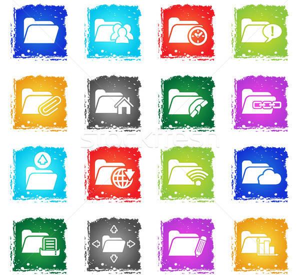 folder icon set Stock photo © ayaxmr