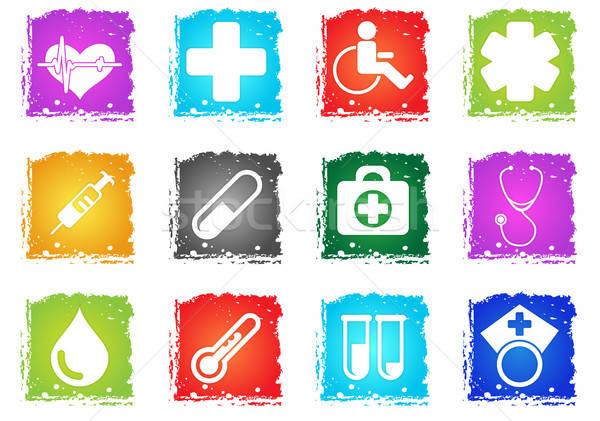 Tıbbi sadece simgeler simge grunge stil Stok fotoğraf © ayaxmr