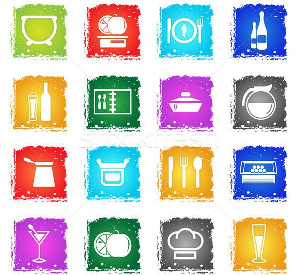 Alimentos cocina iconos de la web grunge estilo Foto stock © ayaxmr
