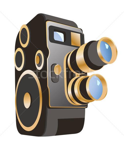 Vector mechanisch filmcamera geïsoleerd witte film Stockfoto © ayaxmr