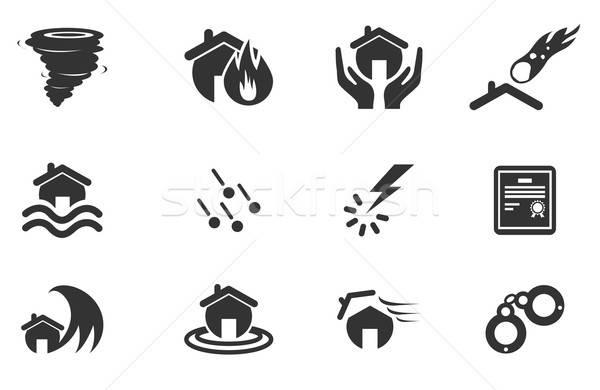 Ev sigortası simgeler sadece semboller web kullanıcı Stok fotoğraf © ayaxmr