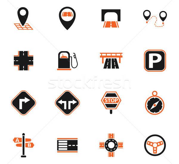 road icon set Stock photo © ayaxmr