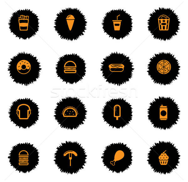 Fast food simply icons Stock photo © ayaxmr