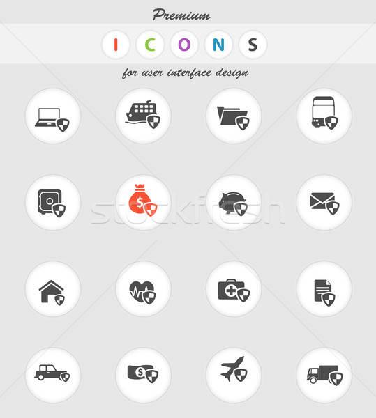 Verzekering eenvoudig iconen vector web gebruiker Stockfoto © ayaxmr