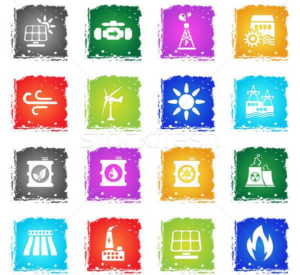Poder geração simplesmente ícones símbolo grunge Foto stock © ayaxmr