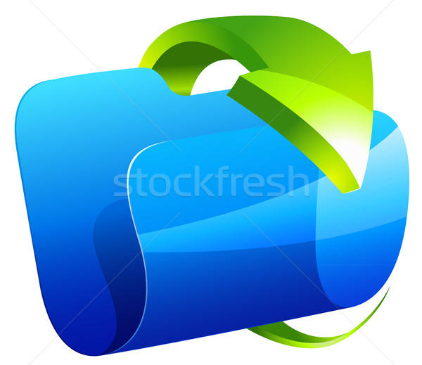 Blauw map icon groene pijl geïsoleerd Stockfoto © ayaxmr