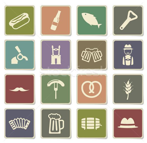 Октоберфест просто иконки векторных иконок веб пользователь Сток-фото © ayaxmr