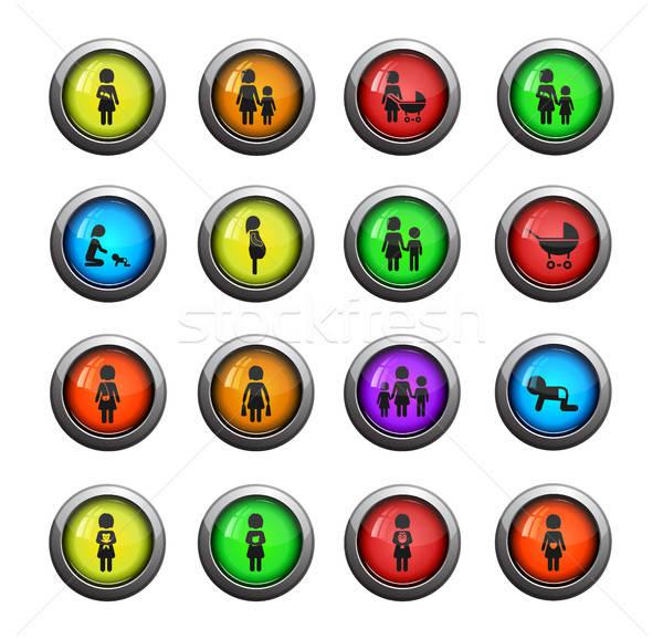 Moeder eenvoudig iconen web gebruiker Stockfoto © ayaxmr