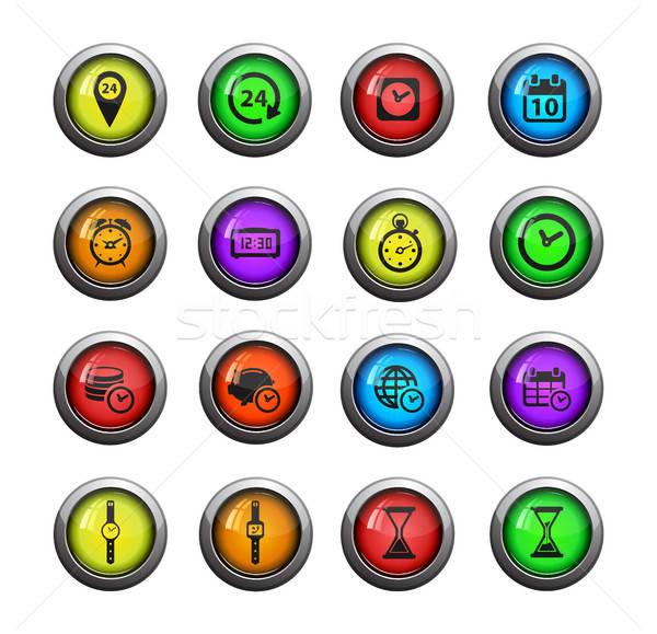 Tijd eenvoudig iconen vector web gebruiker Stockfoto © ayaxmr