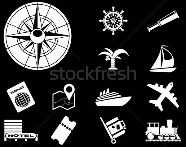Foto stock: Turismo · viajar · ícones · simplesmente · símbolos · teia