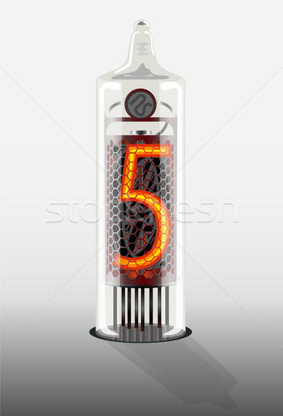 Digit 5 on vintage vacuum tube display Stock photo © ayaxmr