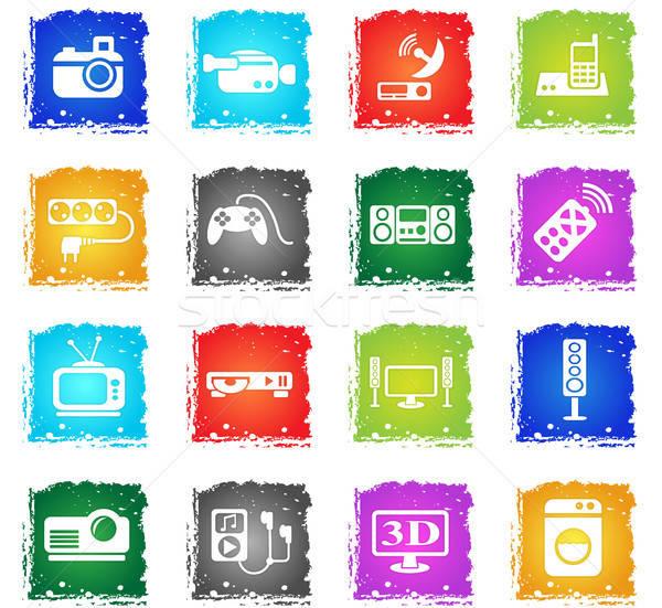 Huishoudelijke apparaten web icons grunge stijl gebruiker Stockfoto © ayaxmr