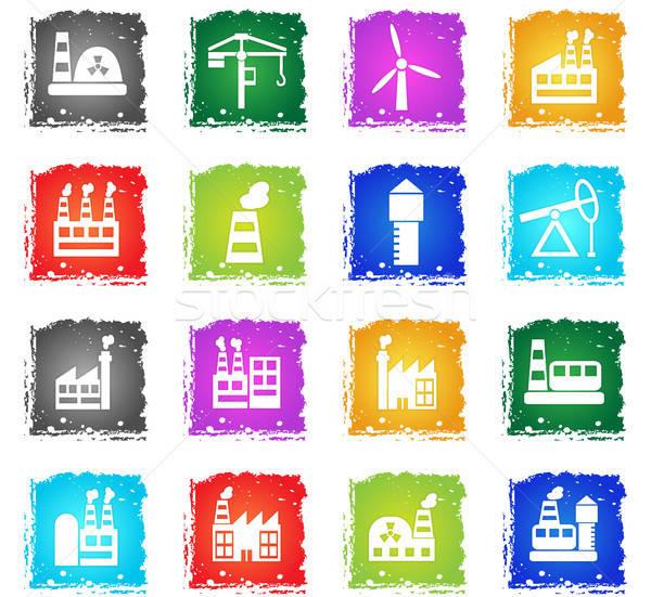 Industrial simplemente iconos símbolo grunge estilo Foto stock © ayaxmr