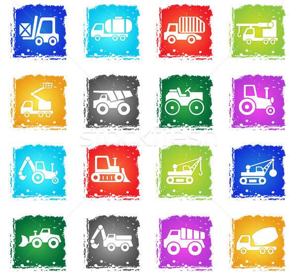 Construcción transporte vector iconos de la web grunge Foto stock © ayaxmr