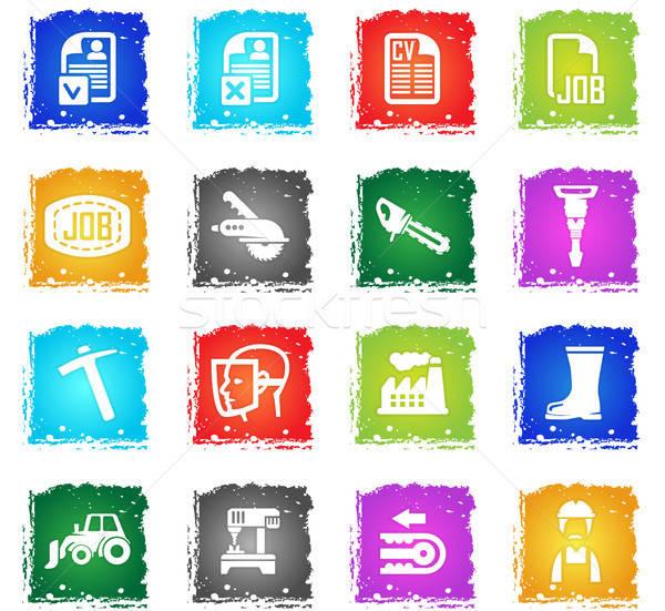 Búsqueda de empleo vector iconos de la web grunge estilo Foto stock © ayaxmr