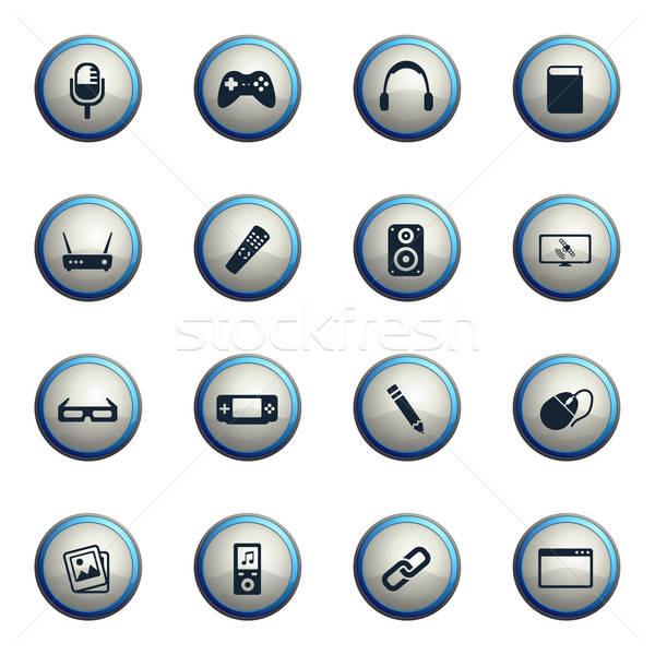 Média egyszerűen ikonok ikon szett háló felhasználó Stock fotó © ayaxmr