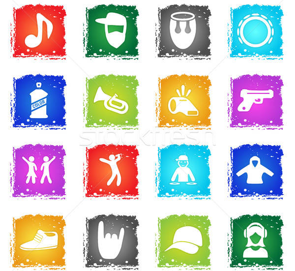 Muziek vector web icons grunge stijl Stockfoto © ayaxmr