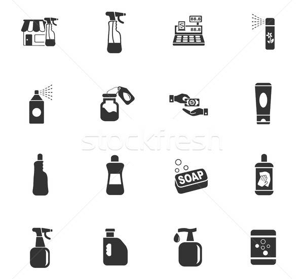 chemicals store icon set Stock photo © ayaxmr
