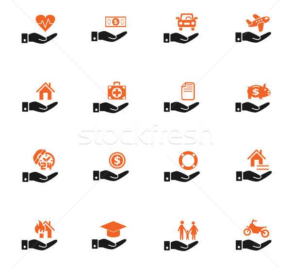 insurance hand icon set Stock photo © ayaxmr