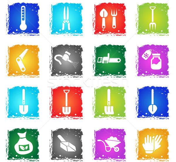 garden tools icon set Stock photo © ayaxmr
