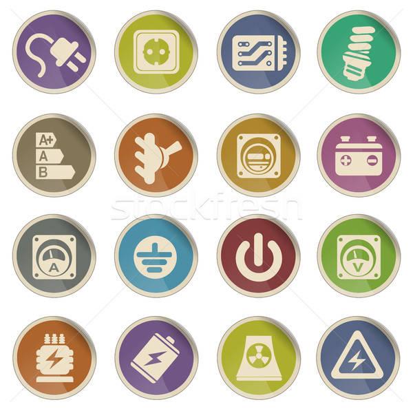 Elektromosság ikon gyűjtemény címke ikonok háló felhasználó Stock fotó © ayaxmr