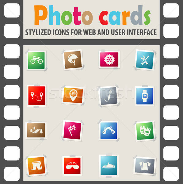 Bicicleta os ícones do web usuário interface projeto Foto stock © ayaxmr