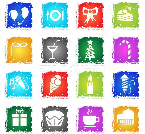 Viering web icons grunge stijl gebruiker Stockfoto © ayaxmr