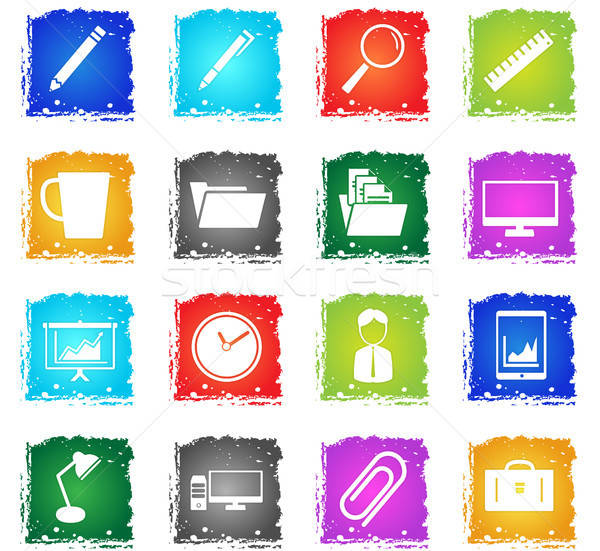 служба просто иконки символ Гранж стиль Сток-фото © ayaxmr
