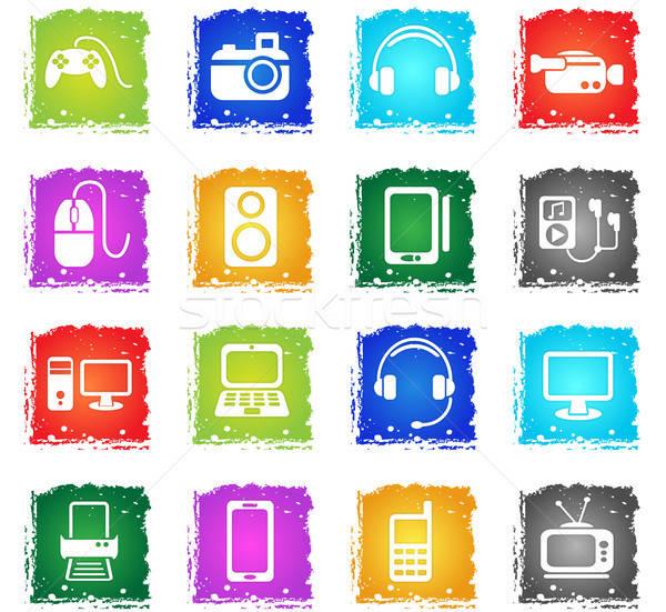 Kütyük egyszerűen ikonok szimbólum grunge stílus Stock fotó © ayaxmr