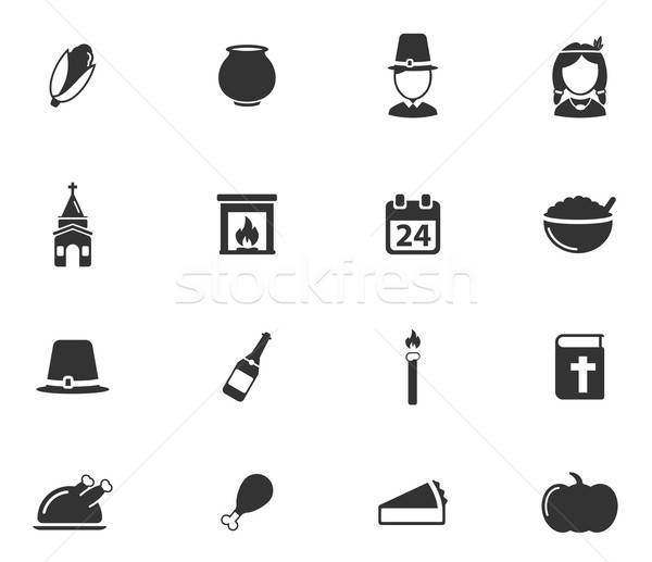 Thanksgiving simply icons Stock photo © ayaxmr