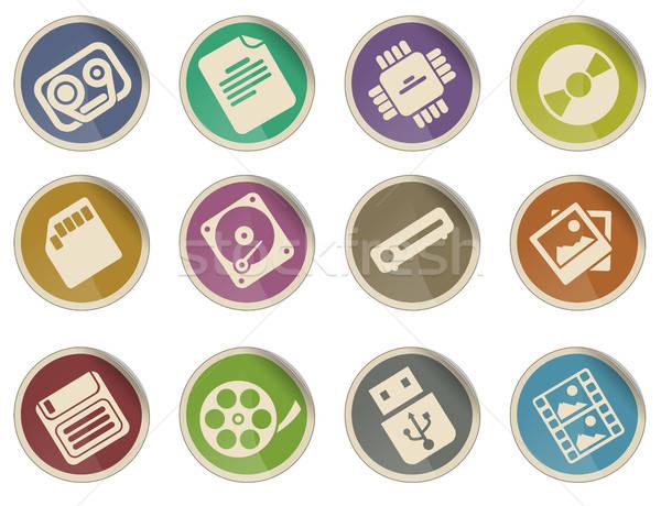 Informacji ikona etykiety internetowych użytkownik czarny Zdjęcia stock © ayaxmr