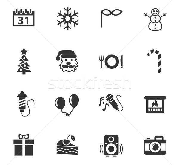 Ano novo os ícones do web usuário interface projeto Foto stock © ayaxmr