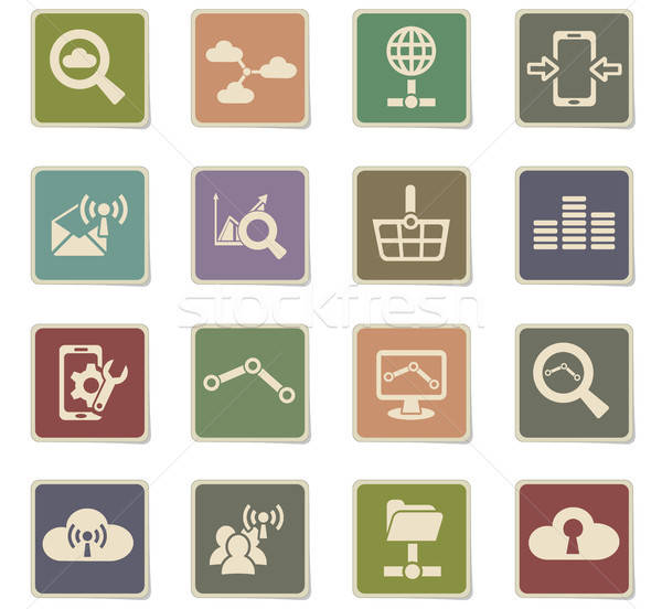 data analytic and social network icon set Stock photo © ayaxmr