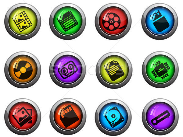 Information carriers icons set Stock photo © ayaxmr