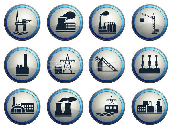 Gyár ipar szimbólumok eps 10 autó Stock fotó © ayaxmr