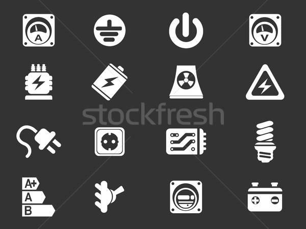 Eletricidade ícone simplesmente símbolo os ícones do web cabo Foto stock © ayaxmr