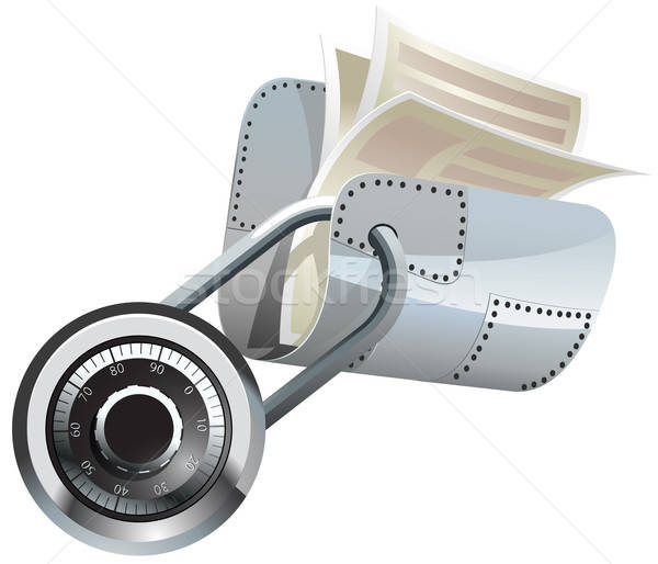 Foto stock: Trancado · aço · dobrador · documentos · vetor · papel