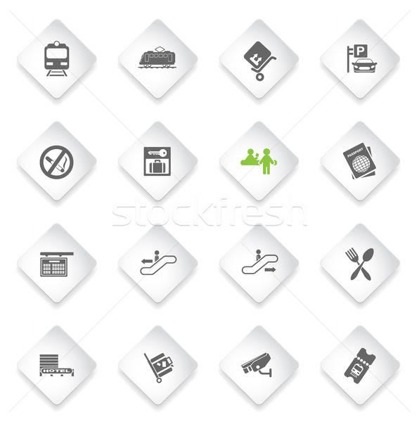 Treinstation symbolen eenvoudig web gebruiker interface Stockfoto © ayaxmr