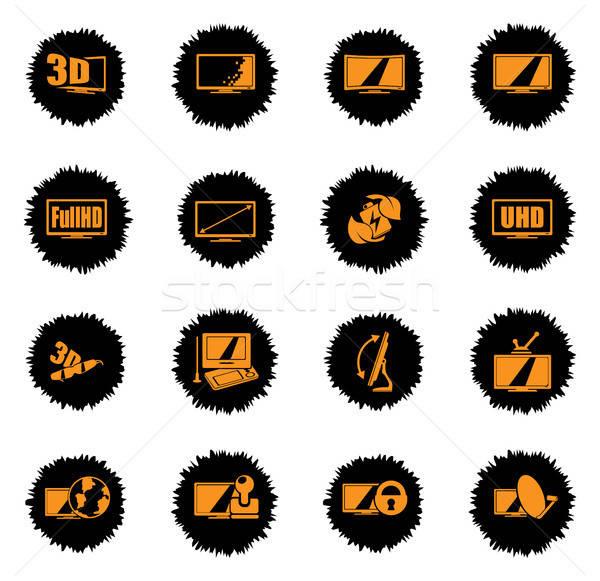 Vektor tv tulajdonságok ikonok háló felhasználó Stock fotó © ayaxmr