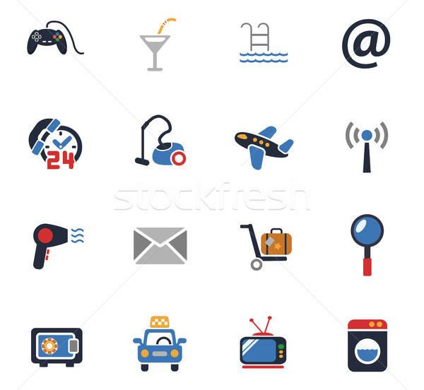 Hotel servicio iconos de la web usuario interfaz Foto stock © ayaxmr