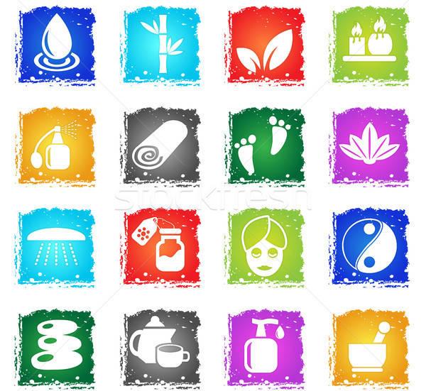 Os ícones do web grunge estilo usuário Foto stock © ayaxmr