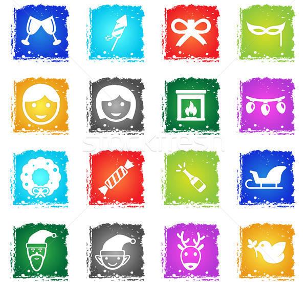 Stockfoto: Christmas · eenvoudig · iconen · symbool · grunge · stijl